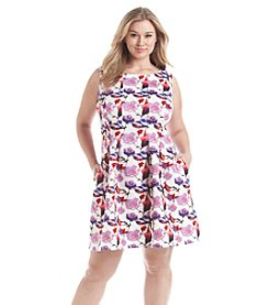 Gabby Skye® Plus Size Floral Burnout Scuba Dress