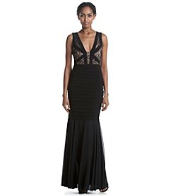 Xscape Pleated Lace Gown