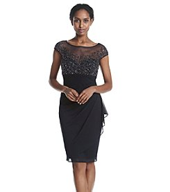Xscape Ruched And Beaded Sheath Dress
