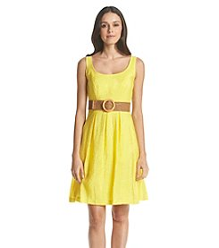 Nine West® Belted And Pleated Fit And Flare Dress