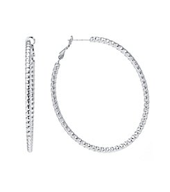 Athra Silver-Plated Diamond Cut Oval Clutchless Hoops