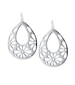 Athra Silver-Plated Laser Cut Teardrop Earrings