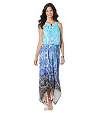 Rafaella® Printed Maxi Cinch Waist Dress