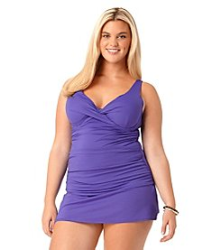 Anne Cole® Plus Size Twist Front Shirred Tankini