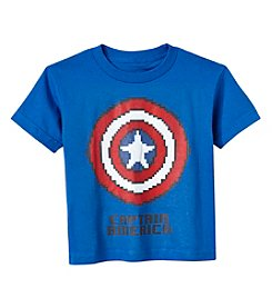 Marvel® Boys' 2T-7 Short Sleeve Captain America Pixel Shield Printed Tee
