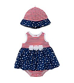 Little Me® Baby Girls' Stars And Stripes Printed Popover And Hat Set
