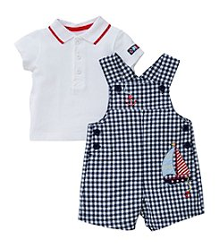 Little Me® Baby Boys Gingham Sailboat Shortalls And Polo Set