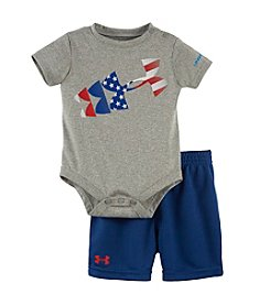 Under Armour® Baby Boys American Flag Rising Logo Bodysuit And Shorts Set