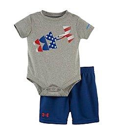 Under Armour® Baby Boys American Flag Rising Logo Bodysuit And Shorts Set