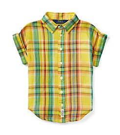 Polo Ralph Lauren® Girls' 2T-6X Short Sleeve Plaid Shirt