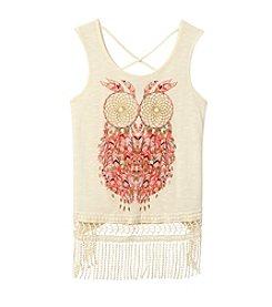 Belle du Jour Girls' 7-16 Owl Print Fringe Tank