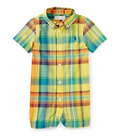Ralph Lauren Childrenswear Baby Boys' One-Piece Plaid Shortall