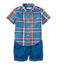Ralph Lauren® Baby Boys' 2-Piece Plaid Shirt And Shorts Set