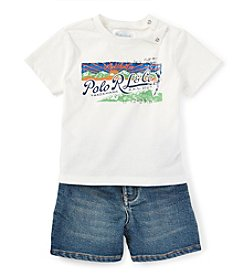 Ralph Lauren Childrenswear Baby Boys Short Sleeve Graphic Tee And Shorts Set