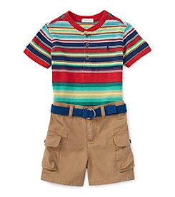 Ralph Lauren Childrenswear Baby Boys Short Sleeve Striped Tee And Cargo Shorts Set