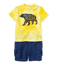 Ralph Lauren Childrenswear Baby Boys Short Sleeve Bear Printed Tee And Shorts Set