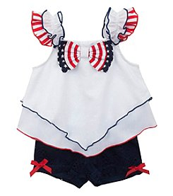 Rare Editions® Girls' 2T-6X Handkerchief Ribbon Top and Shorts Set