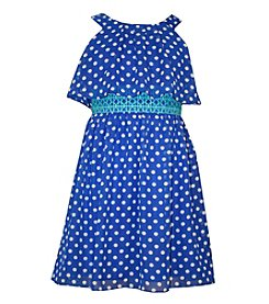 Gerson Girls' 7-16 Chiffon Polka Dot Popover Dress