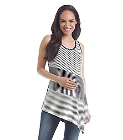 Three Seasons Maternity™ Mixed Stripe Angle Hem Tank