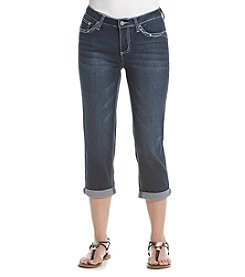 Earl Jean® Heavy Bling Scroll Flap Pockets Capri
