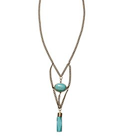 Ruff Hewn Brasstone Turquoise Drop Pendent Necklace