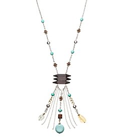 Relativity® Bars And Turquoise Drop Tassel Necklace