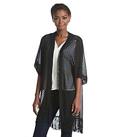 Cejon® Solid Swiss Dot Kimono With Fringe