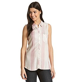 Pink Rose® Sleeveless Button Down Striped Shirt