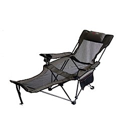 Ore International™ Portable Slate Grey Mesh Lounger Reclining Chair