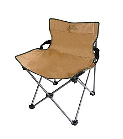 Ore International Portable Low Back Rest Armless Beige Folding Chair