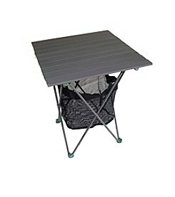 Ore International Aluminum Roll Slate Graphite Grey Table with Storage