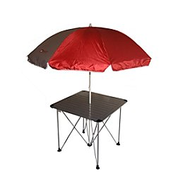Ore International Aluminum Roll Slate Graphite Grey Table with Umbrella