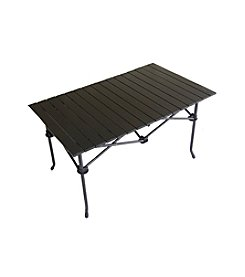 Ore International Large Aluminum Roll Slate Graphite Grey Rectangular Table
