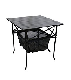 Ore International Aluminum Roll Slate Graphite Grey Adult Table with Storage