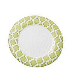 LivingQuarters Botanical Collection Green Print Dinner Plate
