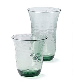 LivingQuarters Botanical Collection Textured Green Glass