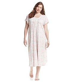 Miss Elaine® Plus Size Long Printed Nightgown
