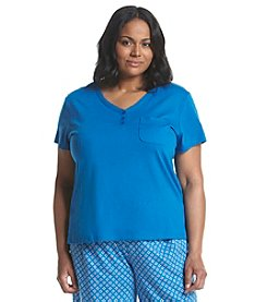 KN Karen Neuburger Plus Size Short Sleeve Henley Pajama Top