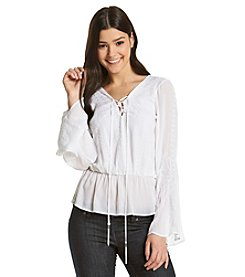 XOXO® Gauze Embroidered Peasant Top