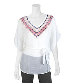 A. Byer Embroidered Butterfly Top