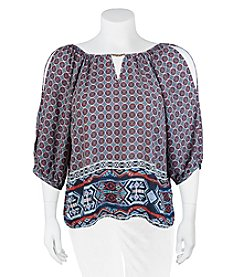 A. Byer Plus Size Printed Cold Shoulder Top