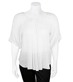 A. Byer Plus Size Lace Peasant Top