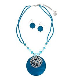 Erica Lyons® Silvertone Turquoise Shell Necklace And Earrings Set