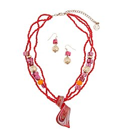 Erica Lyons® Goldtone Fuchsia Artisan Glass Pendant Necklace And Earrings Set
