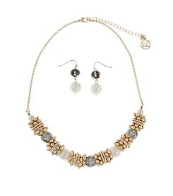 Erica Lyons® Goldtone And Simulated Pearl Slide Bead Necklace And Earrings Set