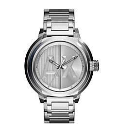 A|X Armani Exchange Men's Silvertone Stainless Steel H Link Watch
