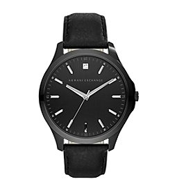 A|X Armani Exchange Men's Blacktone Leather Strap Watch