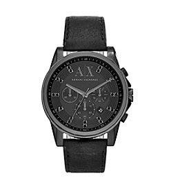 A|X Armani Exchange Men's Blacktone Two Piece Leather Strap Watch