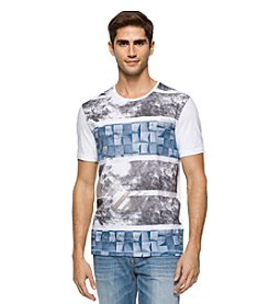 Calvin Klein Jeans Men's Textured Stripe Crew Neck Short Sleeve Tee