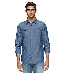 Calvin Klein Jeans® Men's Chambray Herringbone Aviator Long Sleeve Button Down Shirt